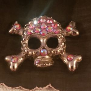 Skull Pendant with Pink Iridescent Crystals